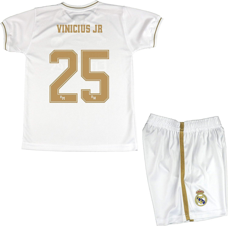 Real Madrid Conjunto Camiseta y Pantalón Primera Equipación Infantil Vinicius JR Producto Oficial Licenciado Temporada 2019-2020 Color Blanco (Blanco, Talla 6): Amazon.es: Deportes y aire libre