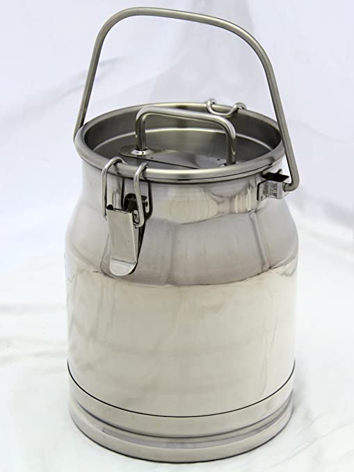 Amazon.com: Lata de leche de acero inoxidable, resistente ...