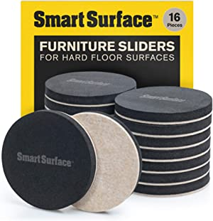 """Smart Surface 8130 Hard Surface Reusable Furniture Felt Moving Sliders 3-1/2"""" Medium Round 16-Pack in Resealable Bag"""