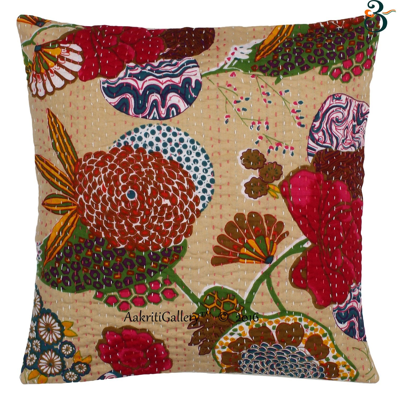decorazione per il divano e la casa Cotone in cotone motivo frutta realizzato a mano vintage 41x41 cm Aakriti Gallery Federa copricuscino stile indiano Kantha Black