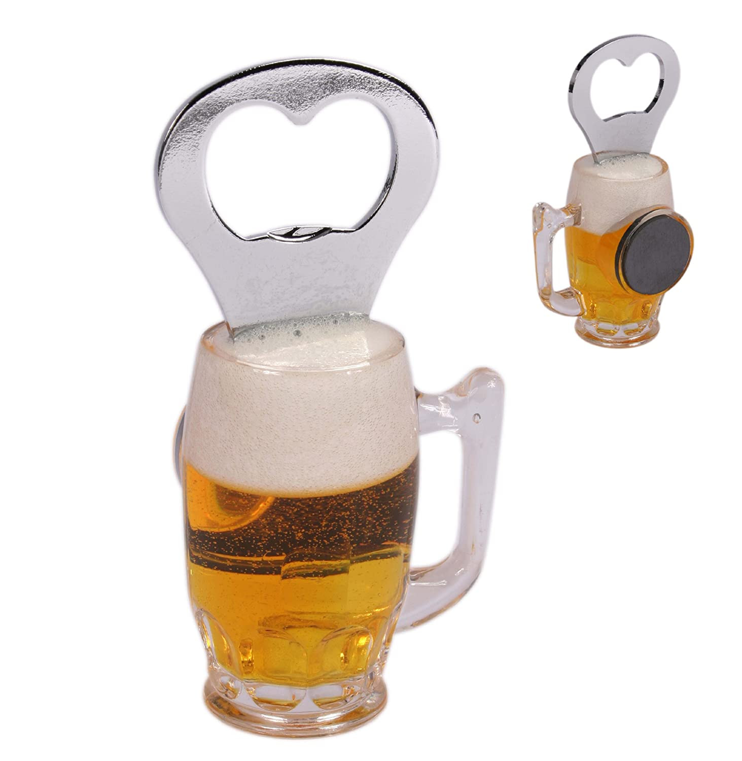 Novelty Beer Glass with Magnet Bottle Opener - Mens, Mans, Gents, His, Him Quality, Novelty Secret Santa Presents, Gifts Ideas Great Gifts