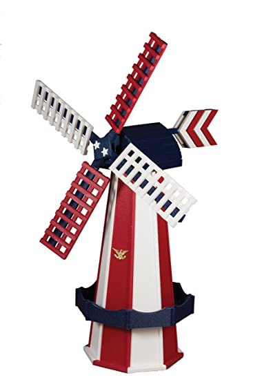 Outdoor Poly Windmill   Amish Handcrafted (Patriotic, Large)