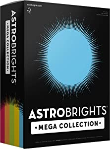 """Astrobrights Mega Collection, 625 Sheets,""""Classic"""" 5-Color Assortment, Colored Paper, 24 lb/89 gsm, 8 ½ x 11-MORE SHEETS! (91623)"""