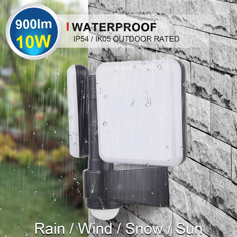 IP54 5000K PIR Infrared Motion Sensor Outdoor Dual Security LED Flood Light 20W Black