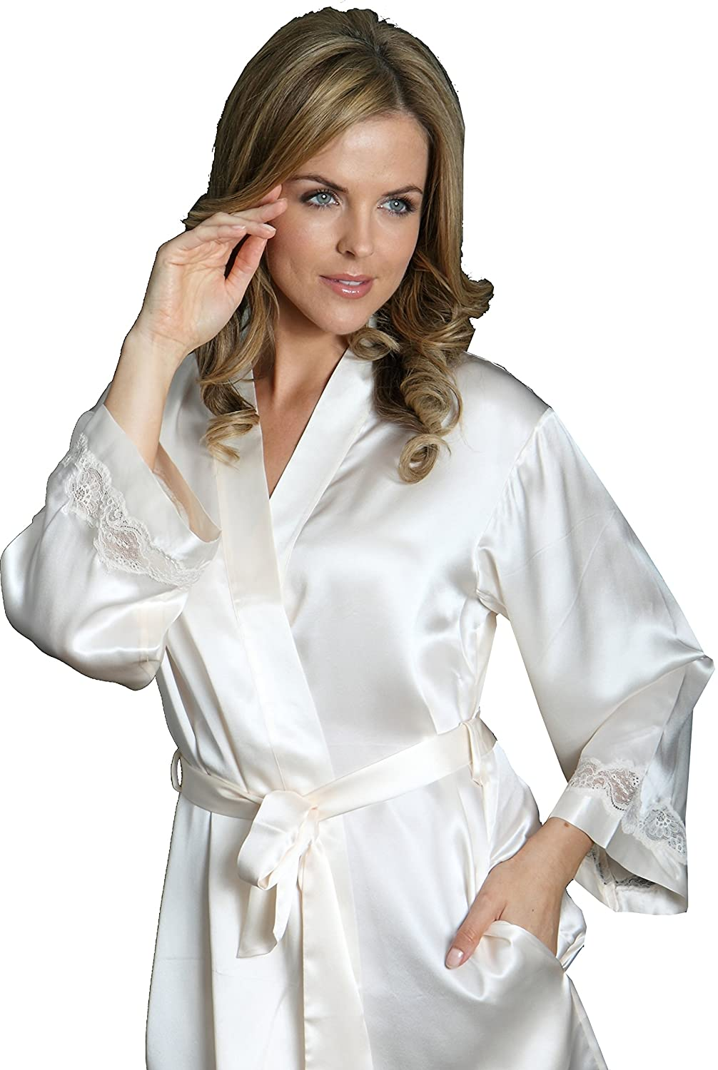 Silk Cocoon Self-coloured Lace Silk Dressing Gown or Silk Negligee ...