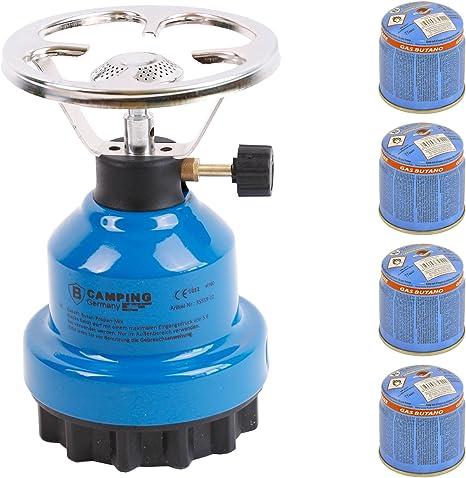 Hornillo de gas E190 de metal con 4 gas (azul)