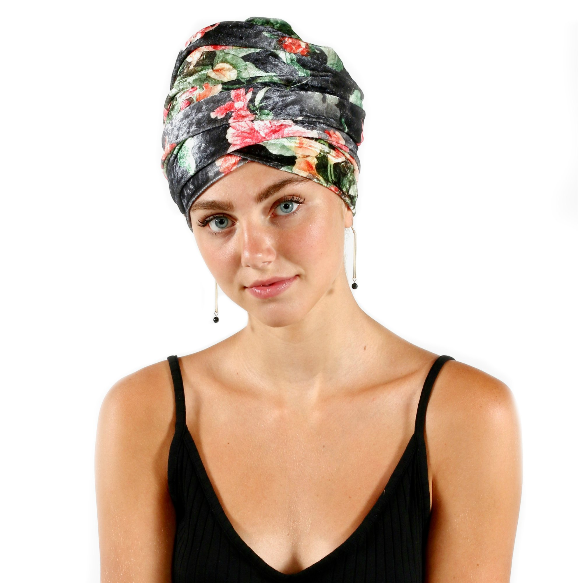 Pretty Simple Luxury Turban Floral Velvet Head Wrap Extra Long Scarf Tie, Gray by Pretty PS Simple (Image #7)