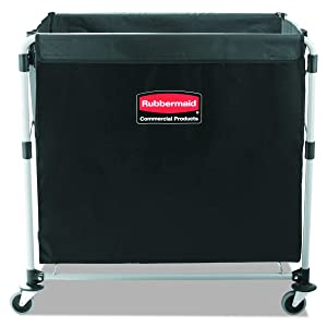 "Rubbermaid Commercial Collapsible X-Cart, Steel, 8 Bushel Cart, 36"" L x 7"" W x 34"" H, Black (1881750)"