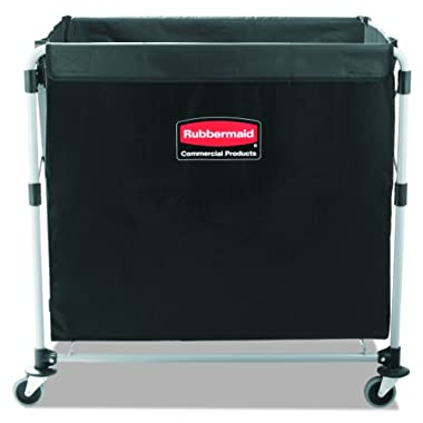 Rubbermaid Commercial Collapsible X-Cart, Steel, 8 Bushel Cart, 36  L x 7  W x 34  H, Black (1881750)