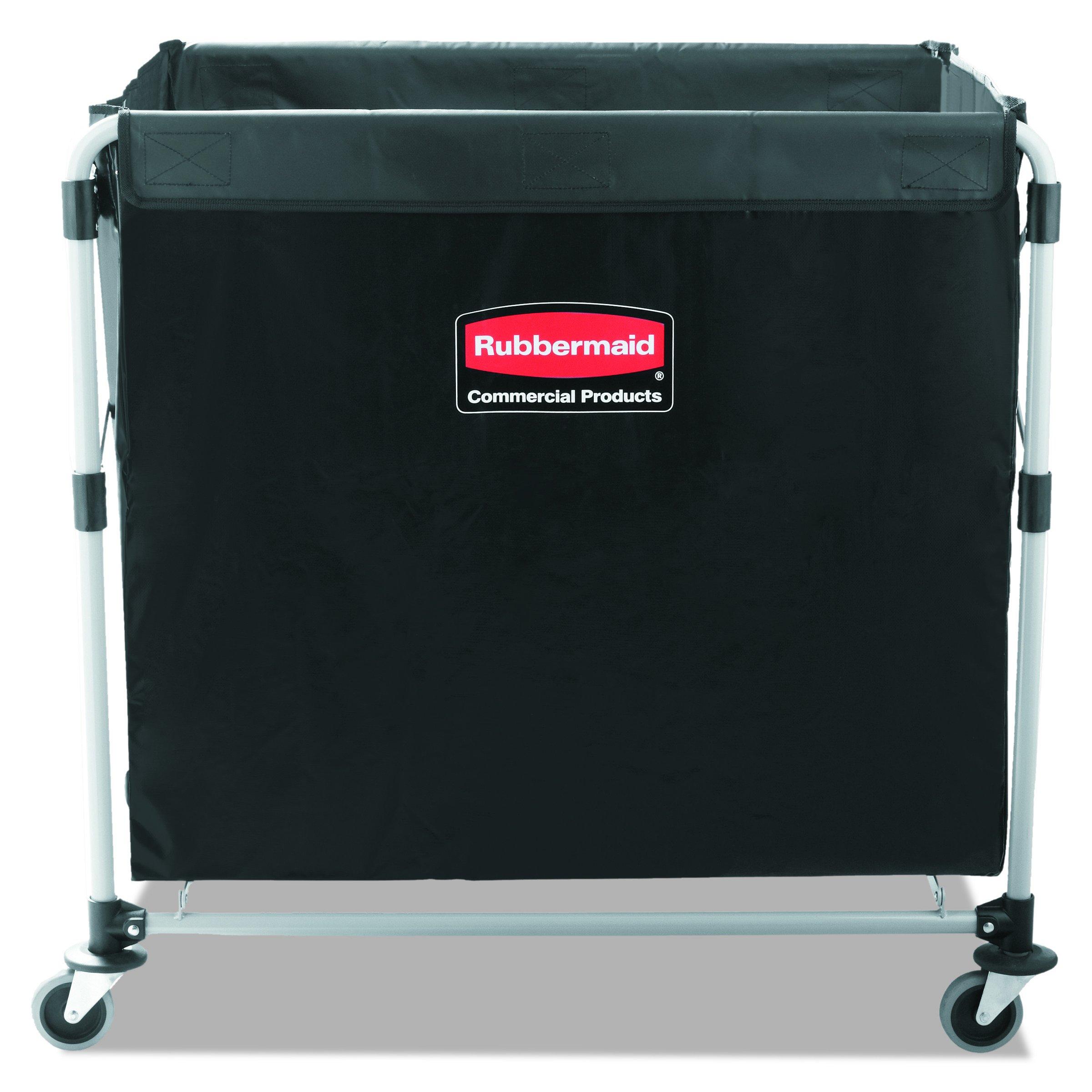 Rubbermaid Commercial Collapsible X-Cart, Steel, 8 Bushel Cart, 36'' L x 7'' W x 34'' H, Black (1881750)