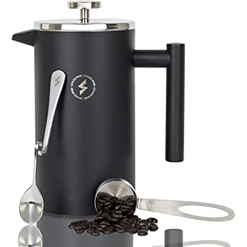 SparkPod French Press Coffee & Tea Maker Complete Bundle (34 Oz – 1 Liter) 4 Items – Double Wall Stainless Steel French Press, Serving Scoop, Dessert Spoon & 4 Ultra-Fine Filter Screens