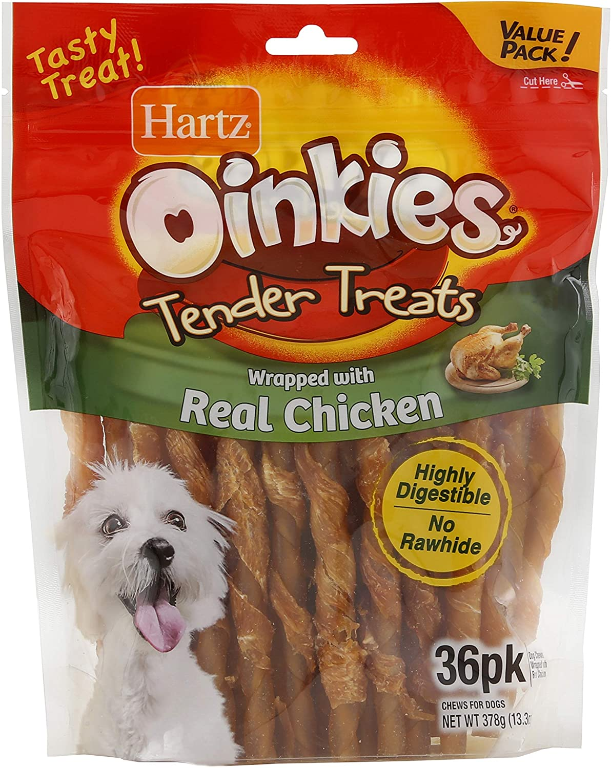 Hartz Oinkies Rawhide-Free Tender Treats Wrapped with Chicken Dog Treats Chews, Various Sizes, Highly Digestible, No Artificial Flavors, Perfect for Smaller and Senior Dogs
