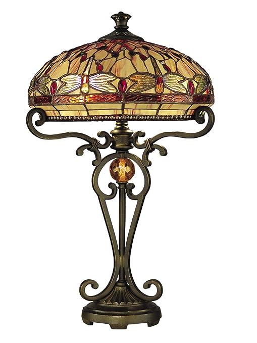 Amazon.com: Dale Tiffany tt10095 Dragonfly lámpara de mesa ...
