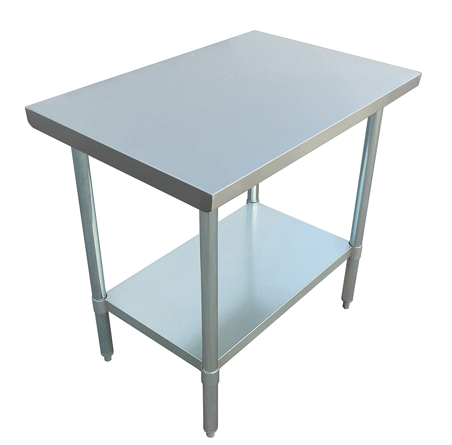 JET Stainless Steel Commercial Utility NSF Kitchen Prep and Work Table Holds Up to 700 Pounds with Adjustable Galvanized Undershelf for Restaurants and Homes, 36 inch Long x 24 inch Wide, Silver