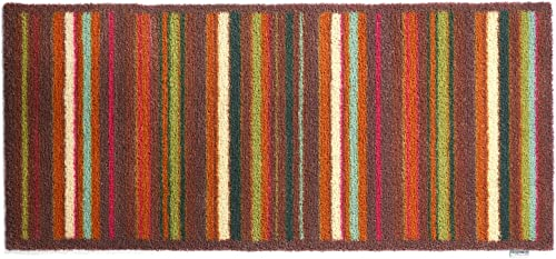 Bosmere Hug Rug Eco-Friendly Absorbent Dirt Trapping Indoor Washable Runner, 25.5 x 59 , Brown and Tan Multi Stripe