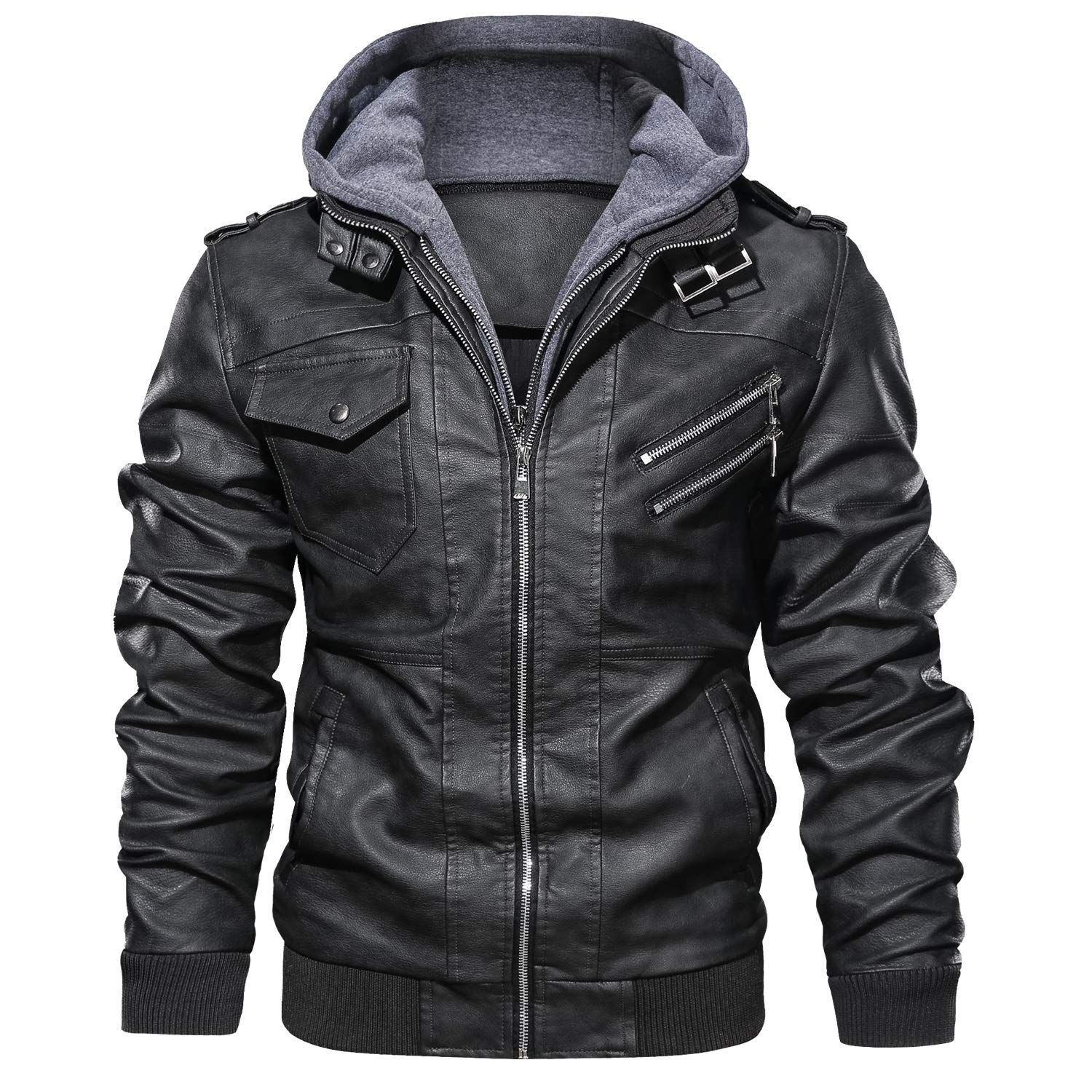 JYG Men's Faux Leather Motorcycle Jacket with Removable Hood Black by JYG