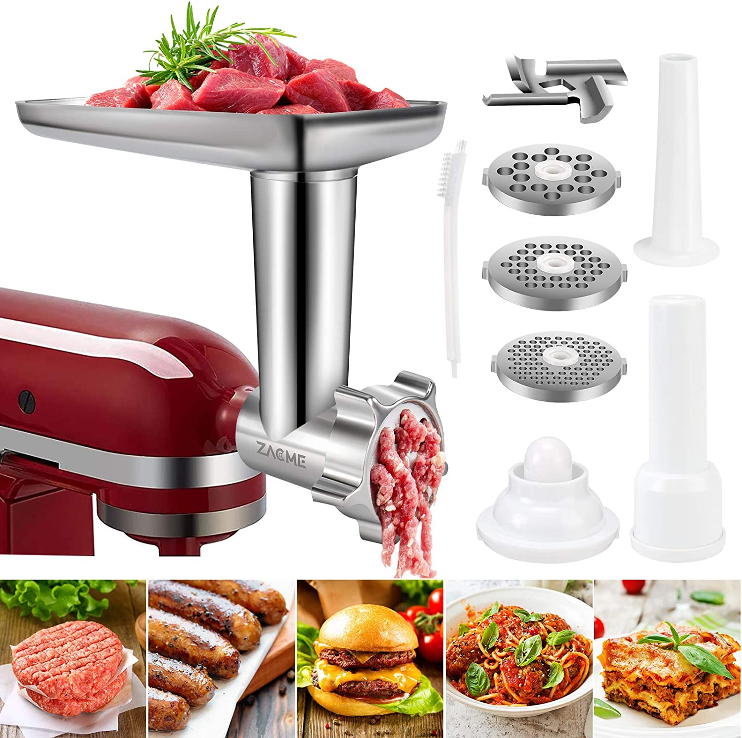 Meat Grinders Food Shredder Attachments for All Kitchenaid Stand Mixers, Electric Food Processor Kitchen Aid Mixer Accessories with 2 Sausage Stuffer and 4 Grinding Blades, Sturdy Metal Silver