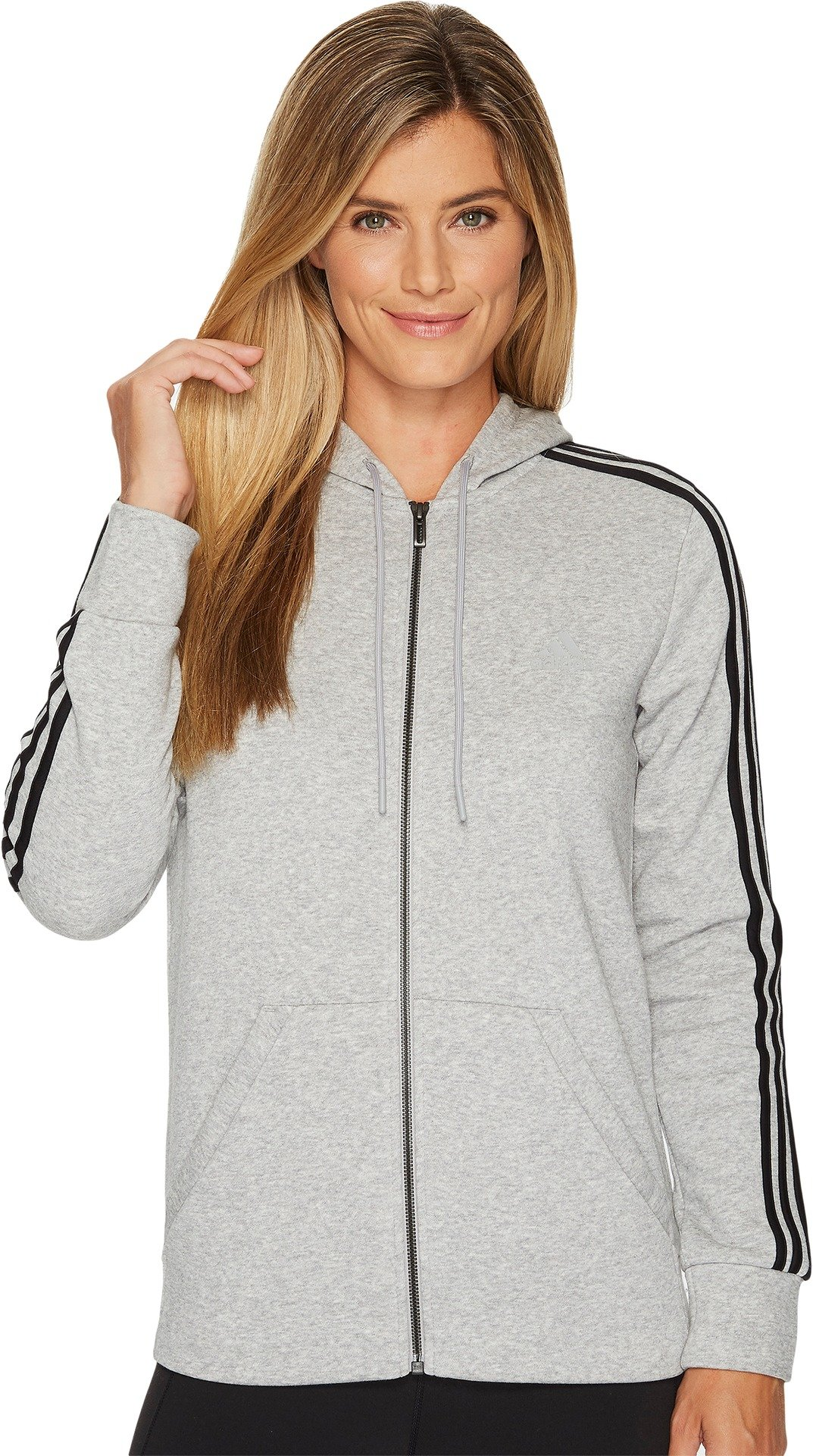 adidas Women's Essentials Cotton Fleece 3-Stripe Full Zip Hoodie, Medium Grey Heather/Black, X-Large