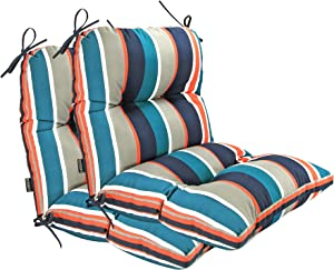 BOSSIMA Outdoor Indoor High Back Chair Tufted Cushions Comfort Replacement Patio Seating Cushions Set of 2 (Grey/White/Blue/Red Stripe)