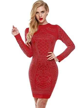 Miuniu Women Dress Night Party Formal Dresses for Juniors Women Dress Long Sleeve Dresses at Amazon Womens Clothing store: