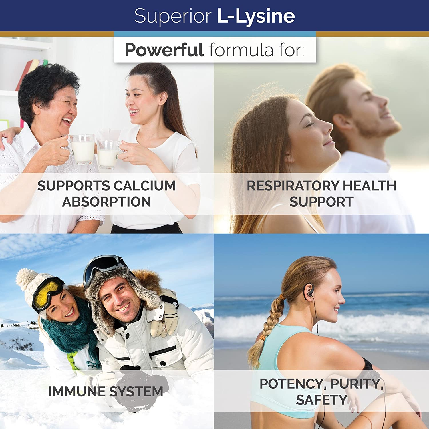 Superior Labs – Best L-Lysine NonGMO - Dietary Supplement –500 mg Pure Active L-Lysine – 120 Vegetable Capsules – Supports Calcium Absorption – Immune System & Respiratory Health Support: Health & Personal Care
