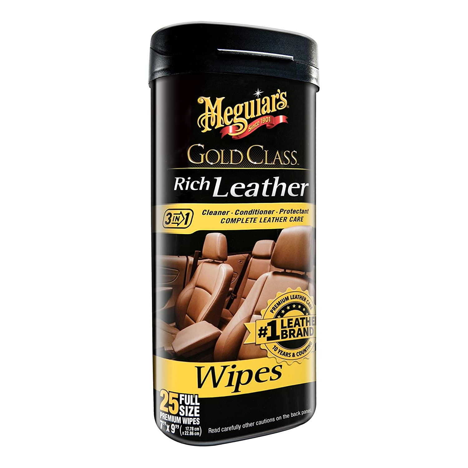 Meguiar's G10900 Gold Class Rich Leather Cleaner & Conditioner Wipes, 2 Pack Meguiar' s