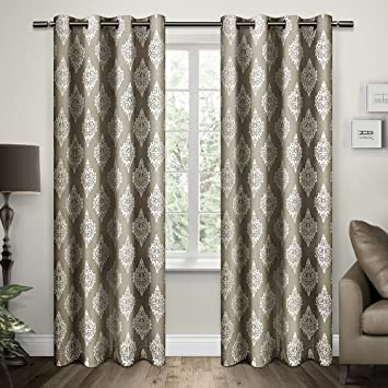 Curtains Ideas 54 curtain panels : Amazon.com: Exclusive Home Damask Print Grommet Top Window Curtain ...