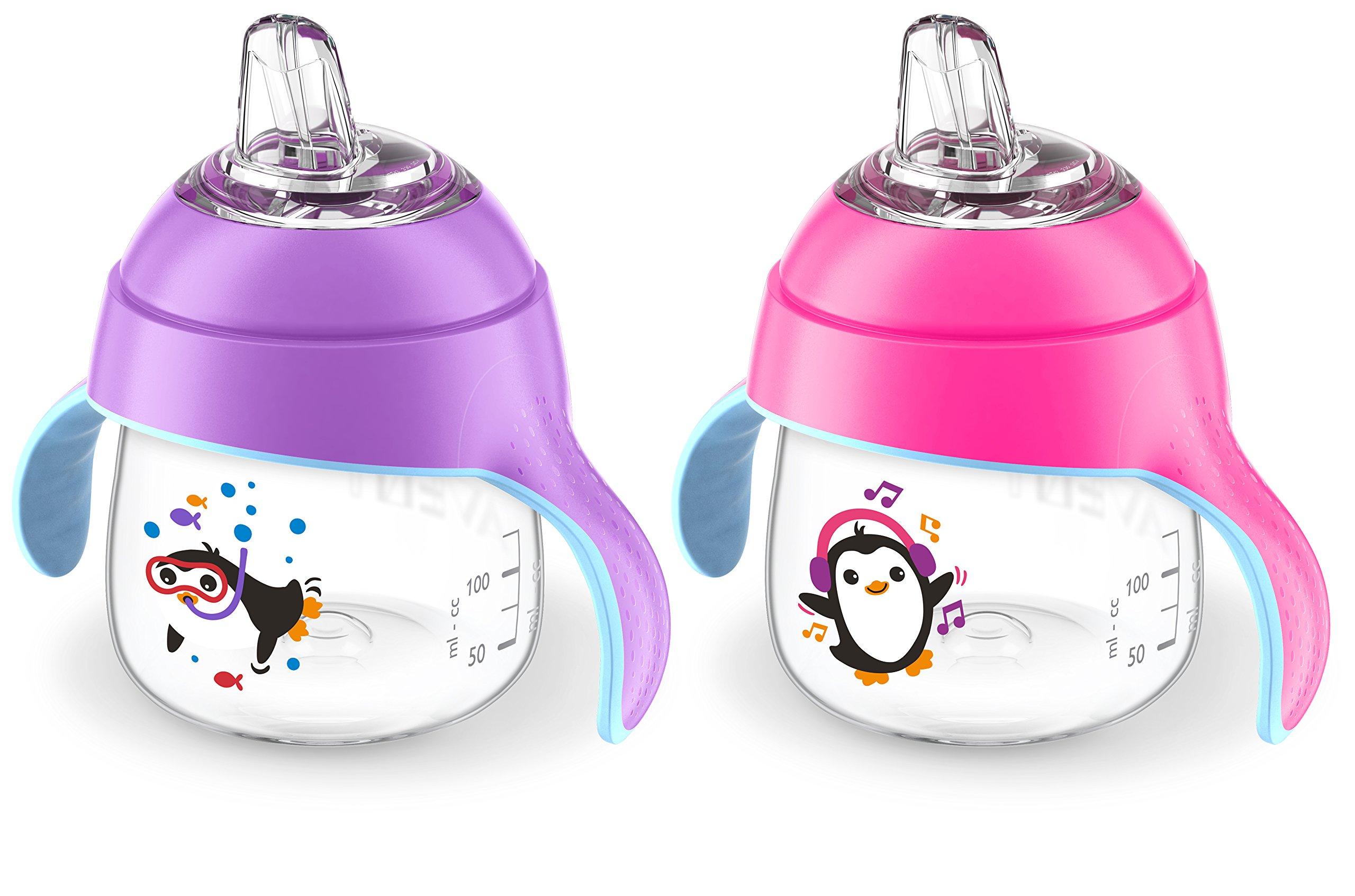 Philips Avent Premium Spout Penguin Cup 7oz - Double, Pink/Purple SCF751/29 by Philips AVENT
