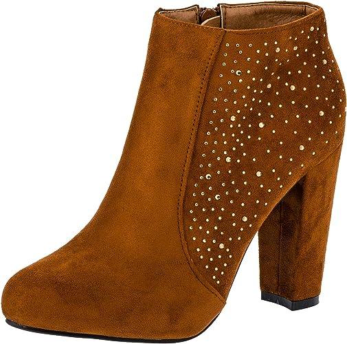 Damen Stiefeletten High Heels mit Strass Steinen Reißverschluss in vielen Farben