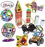 120 Pieces Magnetic Tiles set Magnetic Blocks Building Toys Tiles for Kids by DreambuilderToy