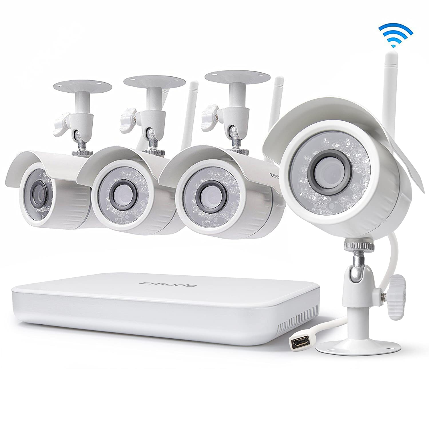 Zmodo 8CH Wireless Security Camera System - 1080P HDMI NVR No Hard Drive, 4  x 720P HD Indoor/Outdoor Wireless Cameras Night Vision - WiFi Easy