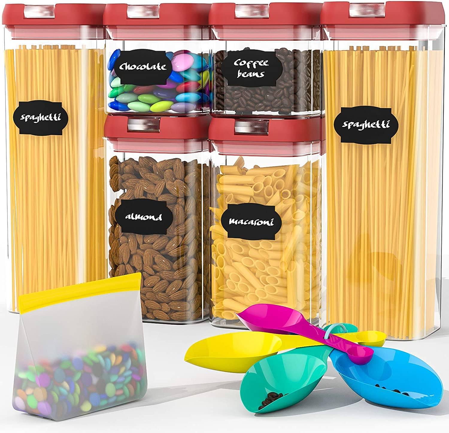 Airtight Food Storage Containers Set, BPA Free Plastic Cereal Containers Premium Kitchen Pantry Organization and Storage Container - Includes Spoon and a Small Food Storage Bag (6 Pieces)