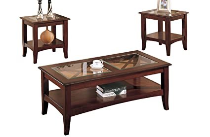 Poundex 3 Piece Coffee Table, Dark Cherry