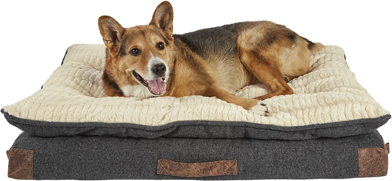 HARMONY Grey Patched Pillowtop Lounger Orthopedic Dog Bed