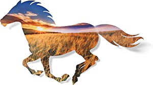Next Innovations 3D Metal Wall Art - Running Horse Farmhouse Wall Decor - Rising Sun Over Field Horse Wall Art - Handmade in The USA for Use Indoors or Outdoors
