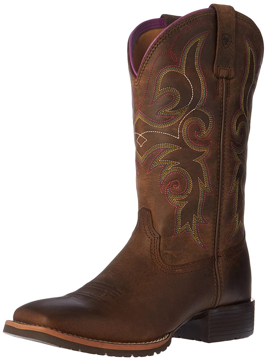 Ariat Women's Hybrid Rancher Work Boot B01BQT6J2Q 10 B(M) US|Distressed Brown/Hot Leaf