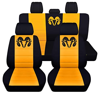 Sensational 40 20 40 Seat Covers For 2013 To 2018 Dodge Ram 22 Color Options Solid Rear Bench Black Yellow Lamtechconsult Wood Chair Design Ideas Lamtechconsultcom