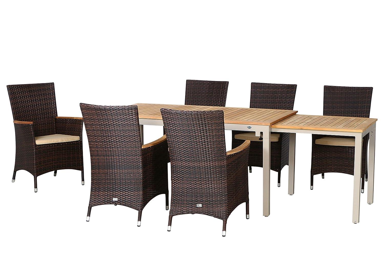 13-teilige Luxus Aluminium Teak Polyrattan Geflecht Gartenmöbelgruppe Beach , 6 Diningsessel, 6 Auflage und ein Ausziehtisch Tifosi 160/280x90, champagner - maron (braun schwarz)