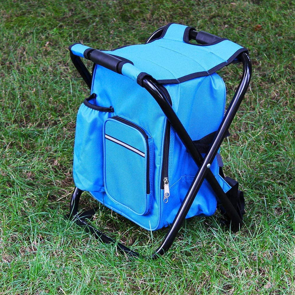 WOTR Ultralight Portable Camping Stool, Multifunction Fishing Backpack Chair, Folding Cooler Insulated Picnic Bag Backpack Stool for Hiking Fishing Travel and more Green