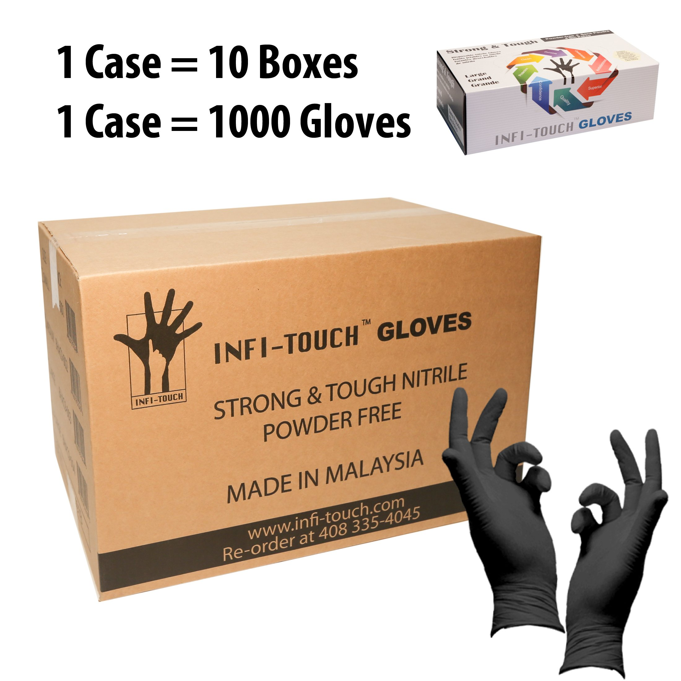 Infi-Touch Heavy Duty Nitrile Gloves, Strong & Tough, High Chemical Resistant, Disposable Gloves, Powder-Free, Non Sterile, Ambidextrous, Finger Tip Textured (10, Large) by Infi-Touch (Image #1)