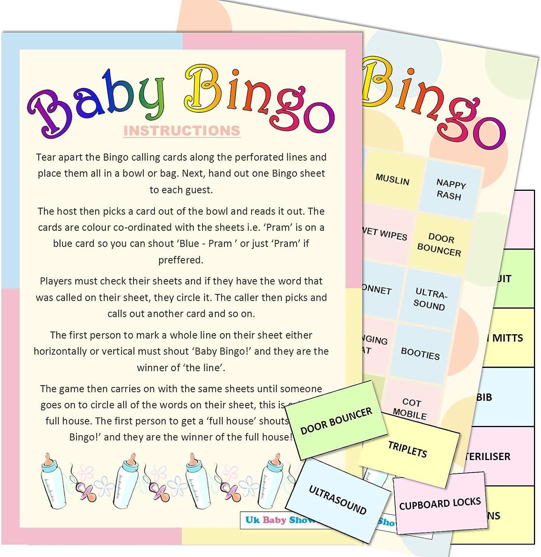 Unisex Baby Shower Bingo Neutral Boys 12 Player Game Girls