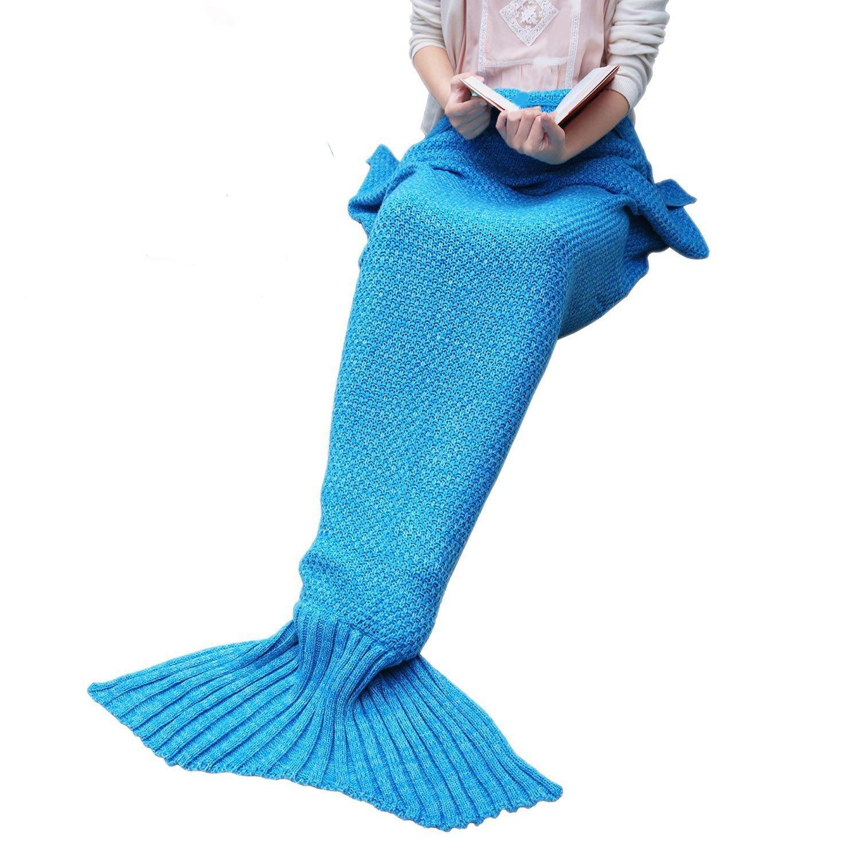 Couverture chaude et douce Queue de sirène par aiqi, crochet Snuggle Cozy fabriqué en polaire canapé lit, Sacs de couchage, idéal cadeau pour les amis ou Membres de la famille - 70.8 * 34.5inch - Bleu mer
