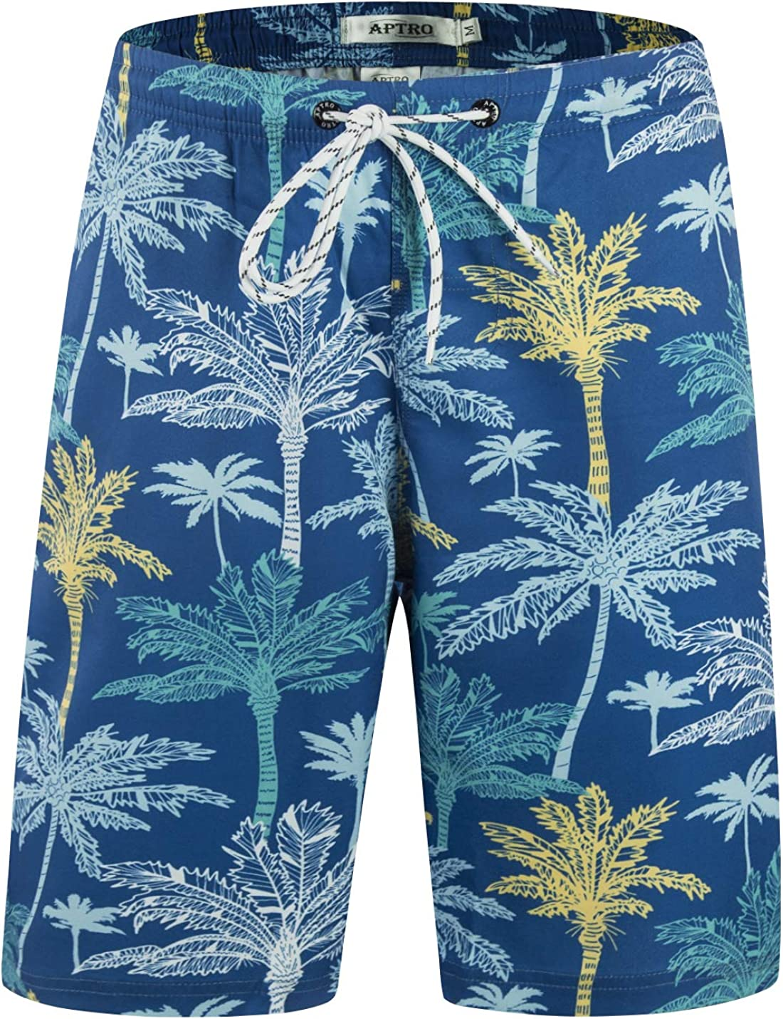 APTRO Mens Shorts Swim Trunks Quick Dry Shorts Knee Length Surf Beach Shorts Swim Wear Casual Hawaiian Elastic Side Shorts 02