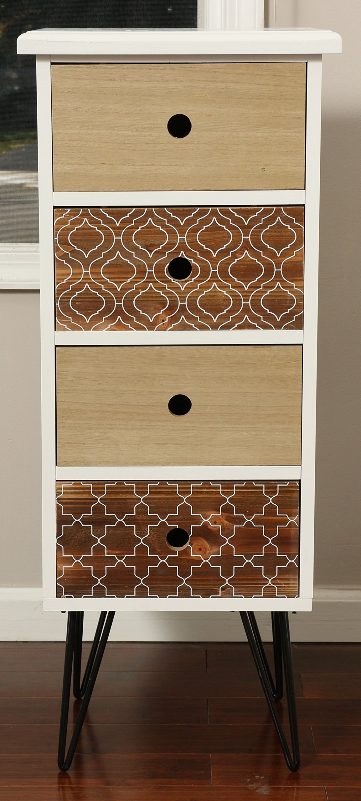 Oliver and Smith - Patchwork Collection - Wooden 4 Drawer Chest - Patchwork Reclaimed Style - Made in USA - Small Chest - 13.5'' W x 12'' D x 33'' H - 16208
