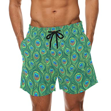 ca8b15a198444 COOSUN Men's Colorful Peacock Feather Beach Board Shorts Quick Dry Swim  Trunk