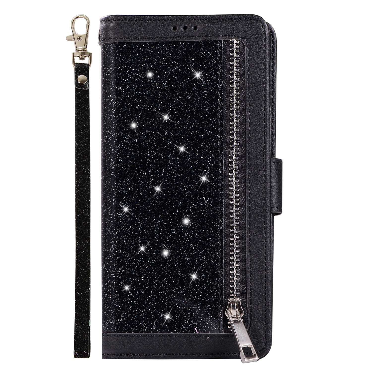 Shinyzone Glitter PU Case for Samsung Galaxy S8,Wallet Leather Flip Case with Zipper Pocket,Bling Cover with 9 Card Holder and Wrist Strap Magnetic Stand Function,Black by Shinyzone (Image #2)