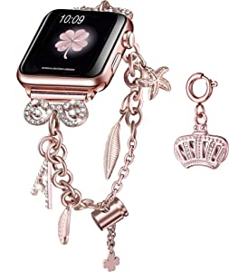 Secbolt Bling Multi-charm Bracelet and Crown Charm for Apple Watch 42mm 44mm iWatch SE Series 6/5/4/3/2/1, Rose Gold