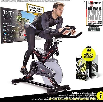 Sportstech SX400 Bicicleta estática Profesional con App Control para Smartphone, Kinomap, Disco de inercia de 22Kg con Sistema por Correa silencioso (SX400 sin Montar): Amazon.es: Deportes y aire libre