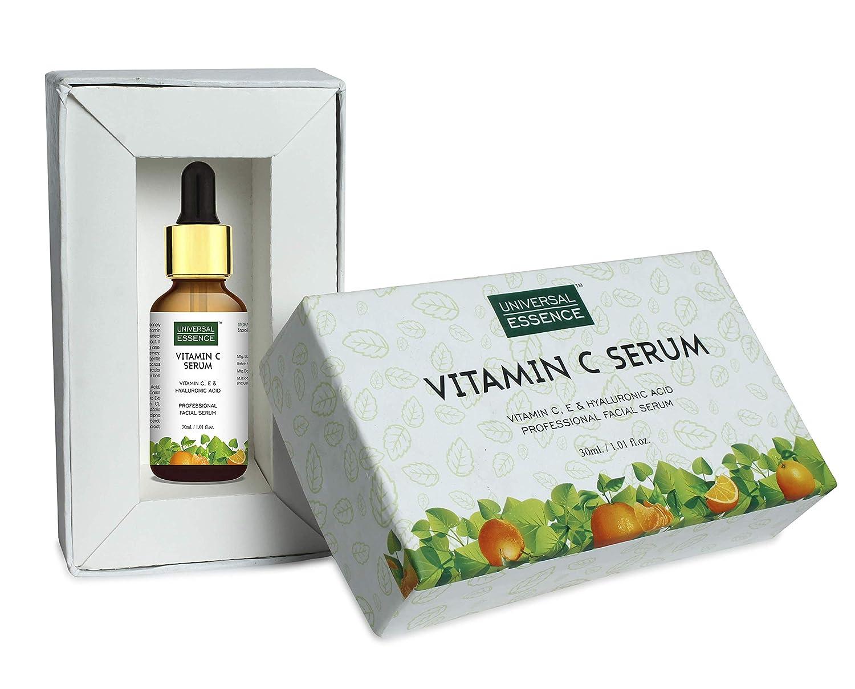 Universal Essence Vitamin C Facial Serum With Hyaluronic Acid - Anti Wrinkle & Anti Ageing | Fairness Brightening Facial Serum - 30 ml
