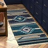 "Amazon Brand – Stone & Beam Casual Geometric Kilim Cotton Runner Rug, 2' 6"" x 8', Flatweave, Blue"